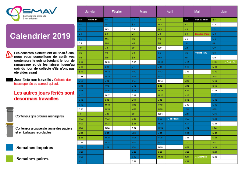Calendrier Semaines Paires.Athies Smav