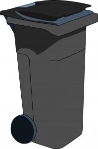 poubelle grise couvercle gris